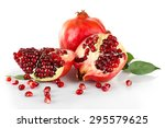 pomegranate seeds isolated on... | Shutterstock . vector #295579625