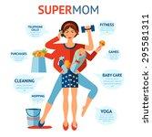 multitasking super mom concept... | Shutterstock .eps vector #295581311