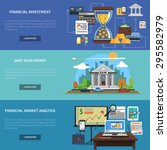 Finance banner horizontal set with financial investment and market analysis flat elements isolated vector illustration | Shutterstock vector #295582979
