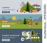 camping horizontal banner set... | Shutterstock .eps vector #295583384