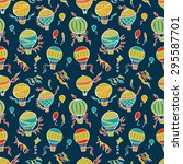 retro seamless travel pattern... | Shutterstock .eps vector #295587701