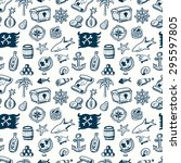 cartoon seamless pirate pattern.... | Shutterstock .eps vector #295597805