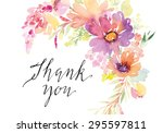 Stock vector watercolor greeting card flowers handmade thank you 295597811