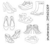 set of women's shoes. | Shutterstock .eps vector #295601309