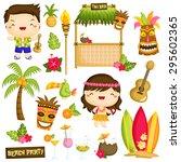 Hawaii Luau Kids Vector Set