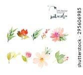 Flowers Watercolor.  Set For...