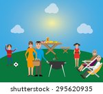 family picnic and bbq party | Shutterstock .eps vector #295620935