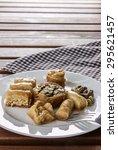 assorted arabic sweets side... | Shutterstock . vector #295621457