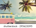 vintage car in the beach with a ... | Shutterstock . vector #295623395