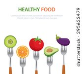 healthy food on the forks  diet ... | Shutterstock .eps vector #295623479