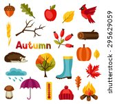 autumn icon and objects set for ...