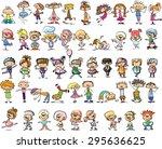 cute happy cartoon doodle kids | Shutterstock .eps vector #295636625