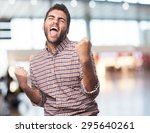 man excited isolated | Shutterstock . vector #295640261
