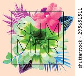 slogan summer in a trendy frame ... | Shutterstock .eps vector #295651511