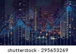trading graph on the cityscape... | Shutterstock . vector #295653269