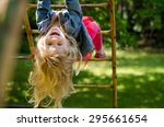 beautiful blond girl with long... | Shutterstock . vector #295661654