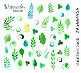 watercolor green summer leaves... | Shutterstock .eps vector #295664939