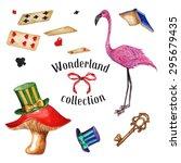 watercolor flamingo  top hat ... | Shutterstock .eps vector #295679435