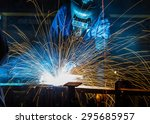 worker with protective mask... | Shutterstock . vector #295685957