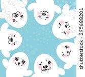card design funny white fur... | Shutterstock .eps vector #295688201