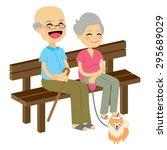 cute senior couple sitting on...   Shutterstock .eps vector #295689029