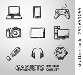 set of handdrawn gadget icons... | Shutterstock .eps vector #295691099