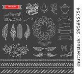 set of wreaths and feather....   Shutterstock .eps vector #295693754