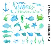 Vector Set Of Watercolor Marin...