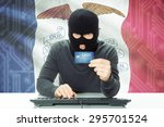 hacker with us state flag on... | Shutterstock . vector #295701524
