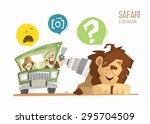 safari illustration. man and... | Shutterstock .eps vector #295704509