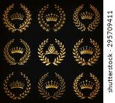 set of luxury gold labels ... | Shutterstock .eps vector #295709411