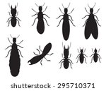 set of black silhouettes... | Shutterstock .eps vector #295710371