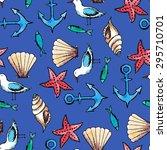 vector watercolor sea seamless...   Shutterstock .eps vector #295710701