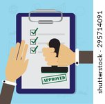 approved stamp in hand... | Shutterstock .eps vector #295714091