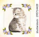 vintage postcard with kitten. ... | Shutterstock . vector #295714439