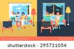 set of family couple kids... | Shutterstock .eps vector #295721054