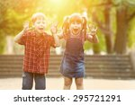 happiness boy and girl fun... | Shutterstock . vector #295721291