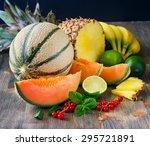 fresh healthy tropical fruits ... | Shutterstock . vector #295721891