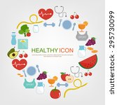 set of healthy icon food and... | Shutterstock .eps vector #295730099