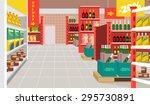 vector supermarket flat... | Shutterstock .eps vector #295730891