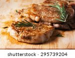 grilled pork chop with rosemary ... | Shutterstock . vector #295739204