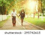 autumn couple love walk | Shutterstock . vector #295742615