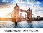 Stock photo tower bridge in london the uk sunset with beautiful clouds drawbridge opening one of english 295742825