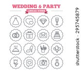 wedding and party linear icons... | Shutterstock .eps vector #295745879