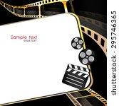 camera film roll gold color ... | Shutterstock .eps vector #295746365