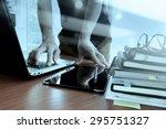 double exposure of designer... | Shutterstock . vector #295751327