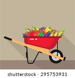 wheel barrow filled with... | Shutterstock .eps vector #295753931