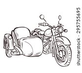 vintage bike and sidecar. hand... | Shutterstock .eps vector #295755695