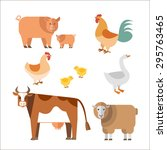 farm animals in flat style. can ... | Shutterstock . vector #295763465