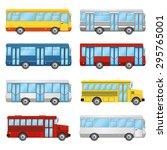 set of buses on the white... | Shutterstock .eps vector #295765001